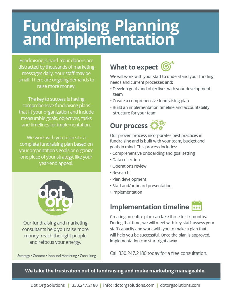 Fundraising Planning and Implementation Sales Information