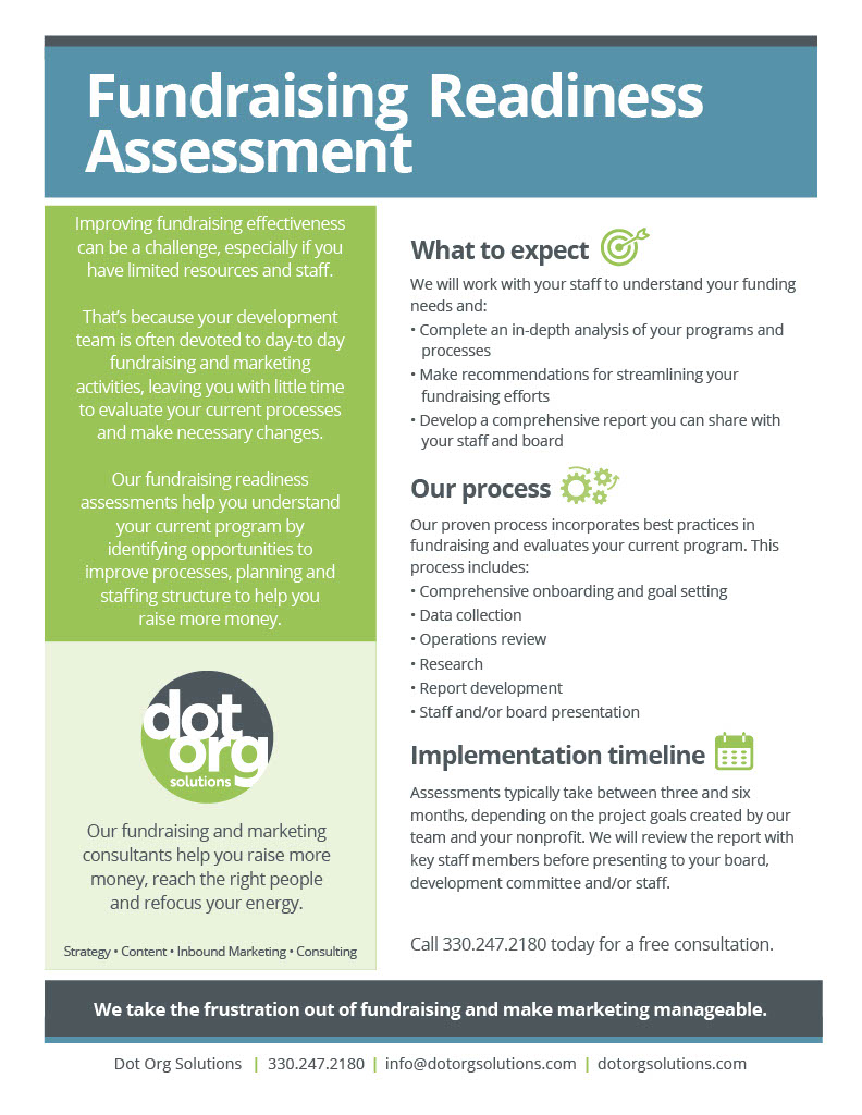 Fundraising Readiness Assessment Sales Information